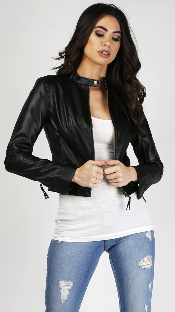 Button Detail Leather Jacket - Msky