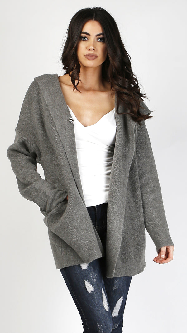 Button Up Sweater Jacket With Hood