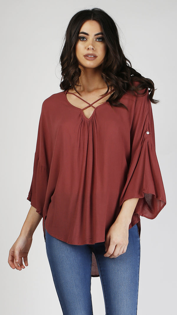Criss Cross V-Neck Top - Msky