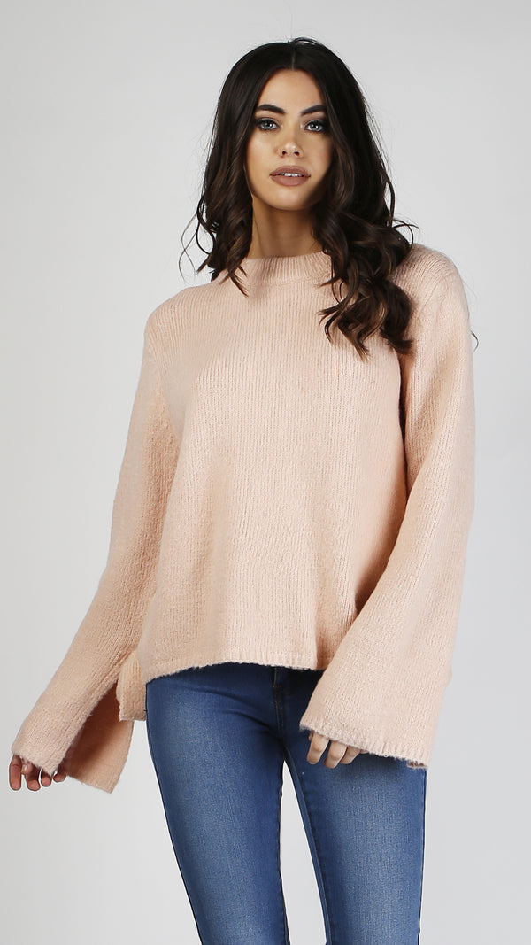 Fuzzy Bow Tie Long Sleeve Sweater Top