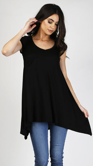 V- Neck Cap Sleeve Tunic With Front Pocket