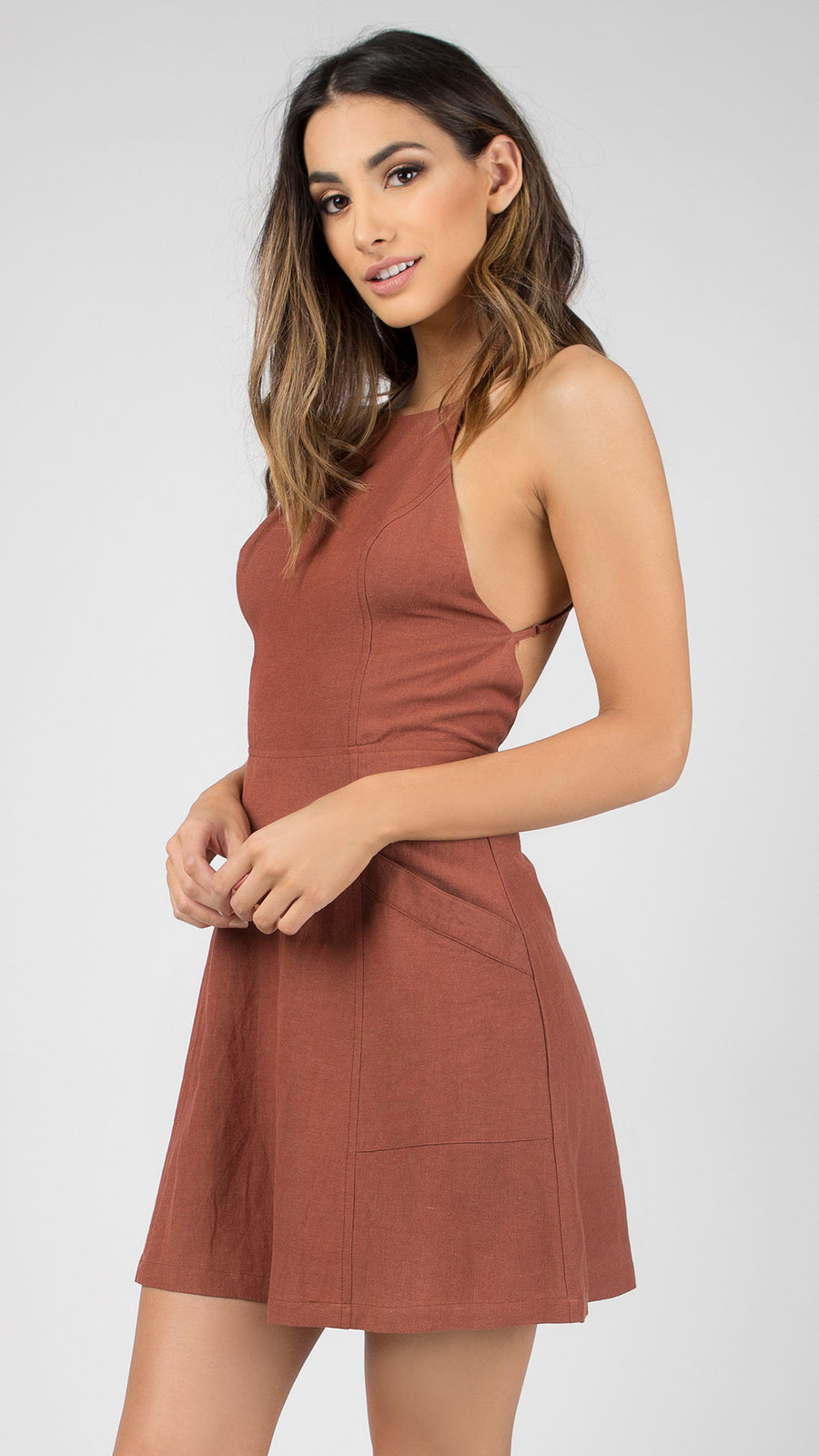 Linen Cross Back Skater Dress