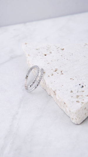 Double Rhinestone Wrap Ring - ANGL