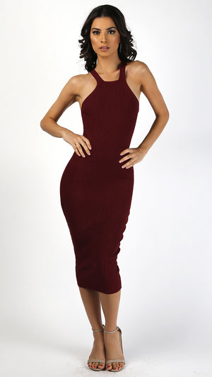 Ribbed Halter Bodycon Maxi Dress