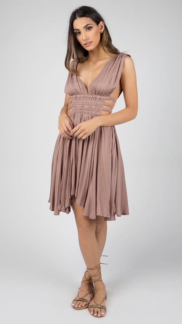 Goddess Plunging Asymmetrical Dress