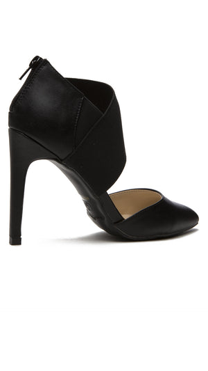Asymmetrical Elastic Strap Pump - Black