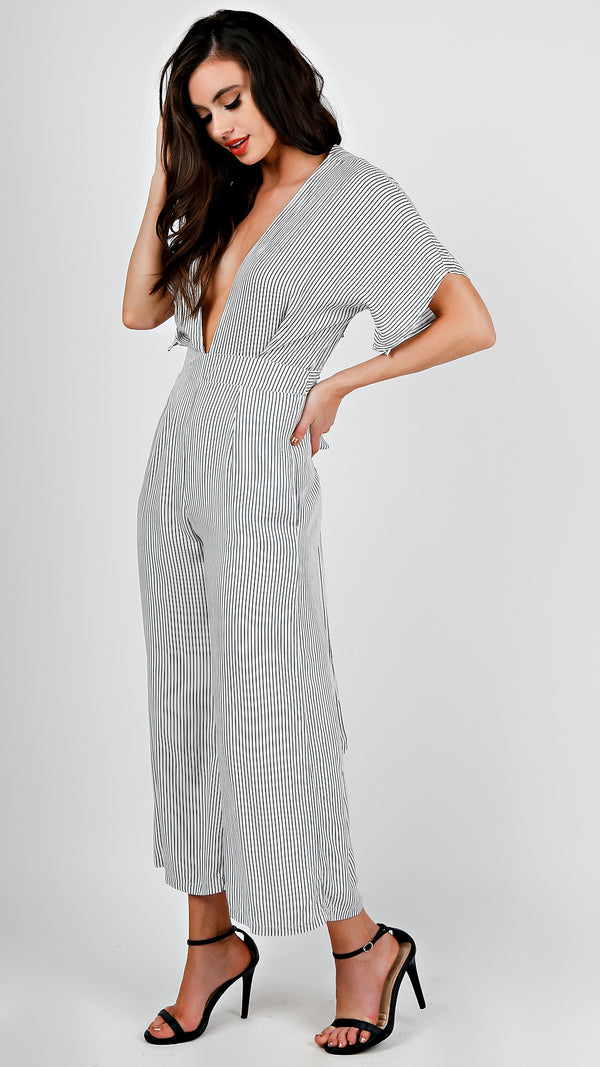 Deep V-Neck Jumpsuit - Msky