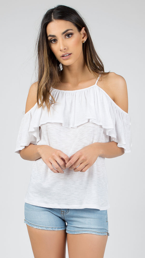 Cold Shoulder Ruffle Top - Msky