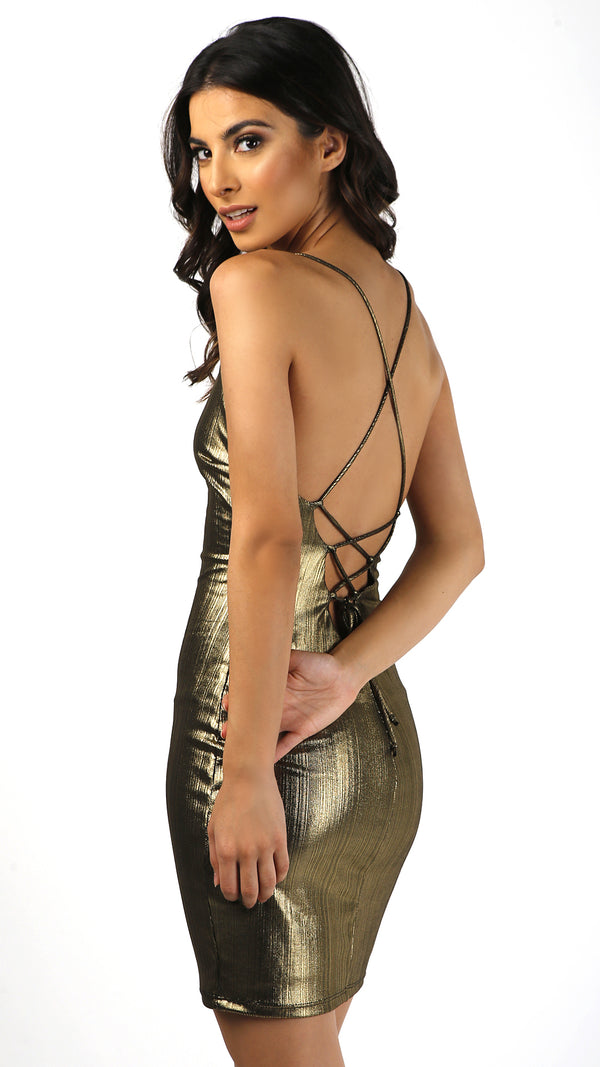 Foil Deep Neck Sexy Back Dress - Msky