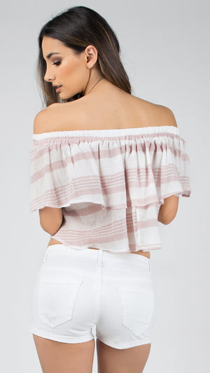 Baby Linen Off Shoulder Ruffle Top