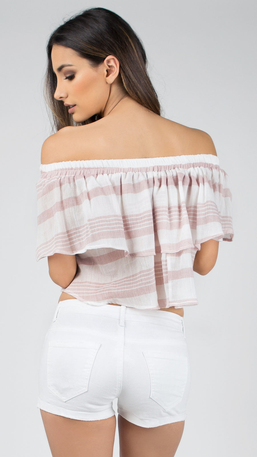 Baby Linen Off Shoulder Ruffle Top - ANGL