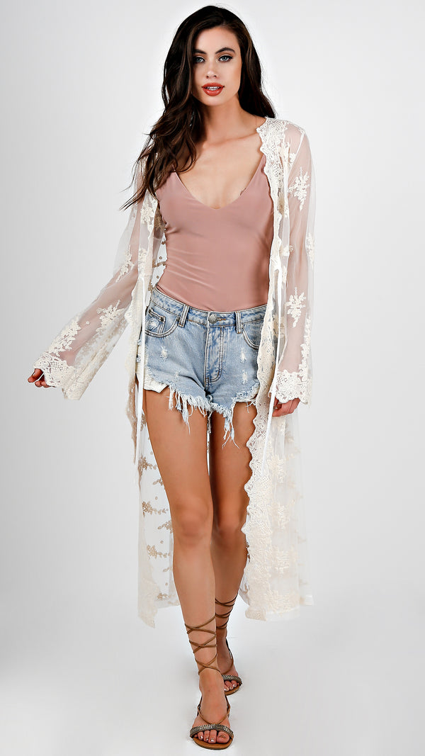 Lace Hem Sheer Duster