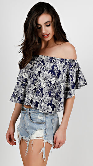 Hawaiian Floral Off Shoulder Crop Top