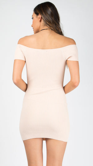 Off Shoulder Short Sleeve Bodycon Dress