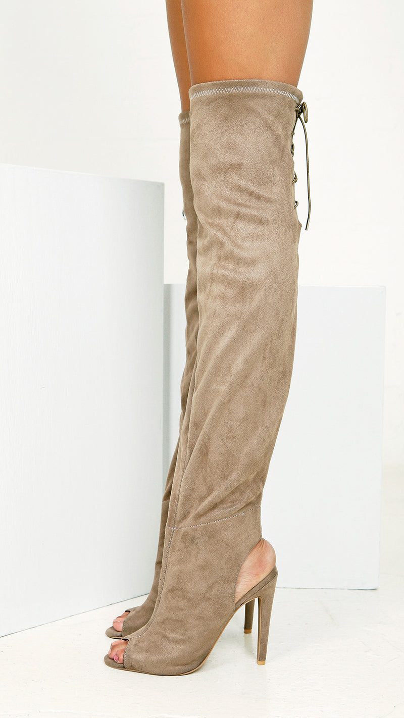 Sexy Suede Peeptoe Knee High Boots
