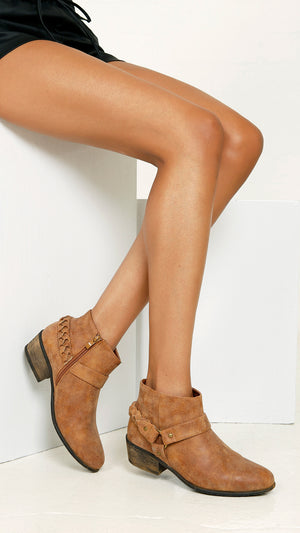 Textured Bootie with Harness - Chestnut