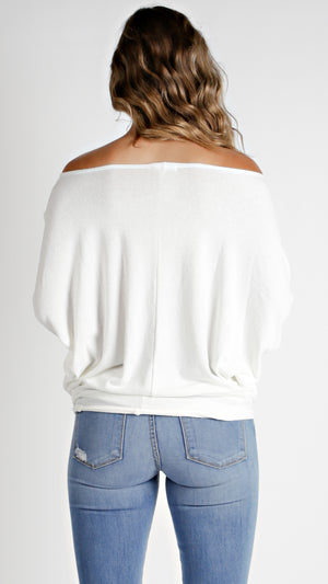 Off Shoulder Dolman Sleeve Tunic Top