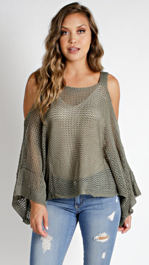 Cold Shoulder Wide Sleeve Top