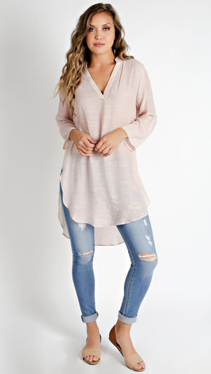 Side Deep Open Hem Tunic Top- Blush