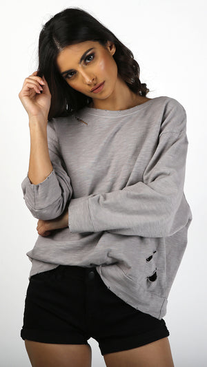 Lightly Destroyed Long Sleeve Sweater Top