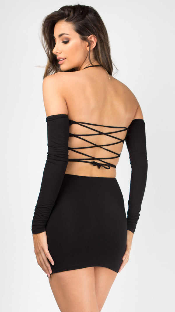 Back-Off Lace Up Party Dress - ANGL