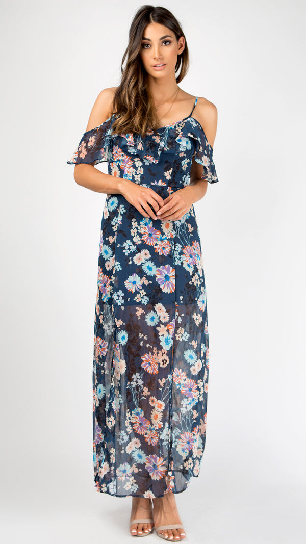 Midnight Floral Ruffled Maxi