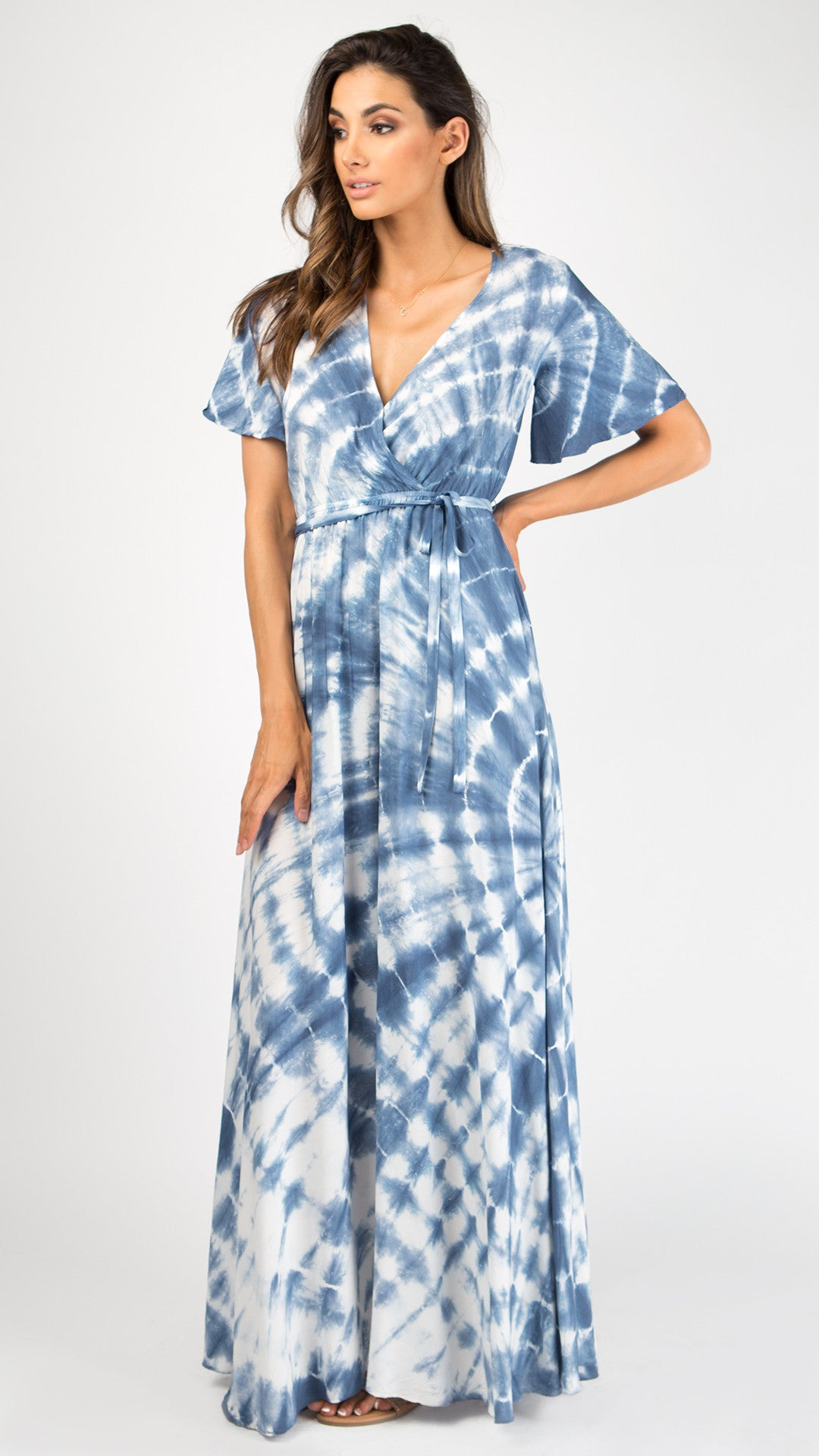 Short Bell Sleeve Tie Dye Maxi Dress Angl