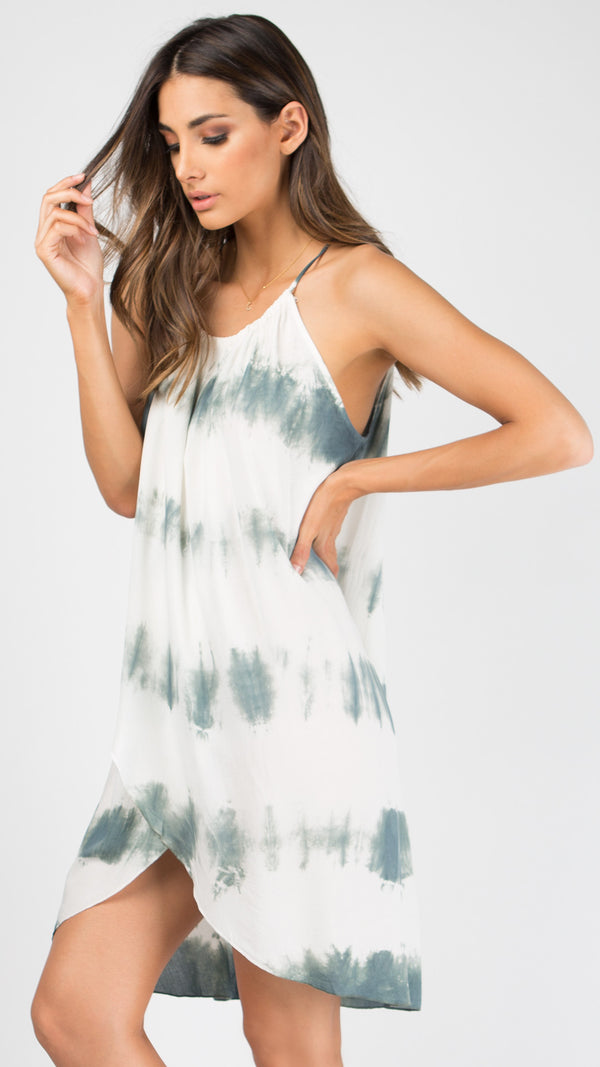 Sage Overwrap Tie Dye Dress