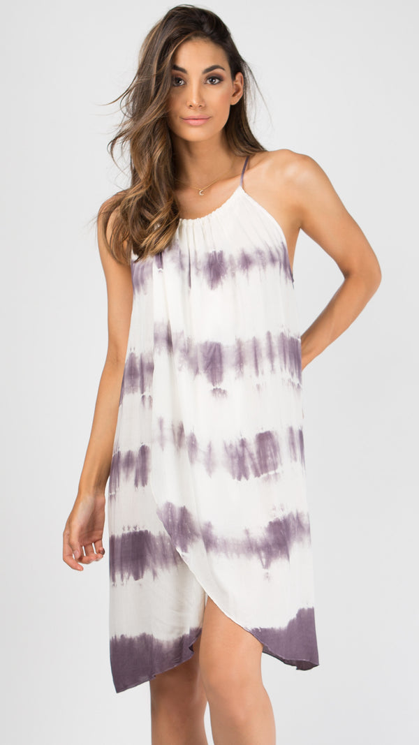 Purple Overwrap Tie Dye Dress