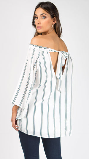 Striped Off Shoulder Flowy Tunic Top