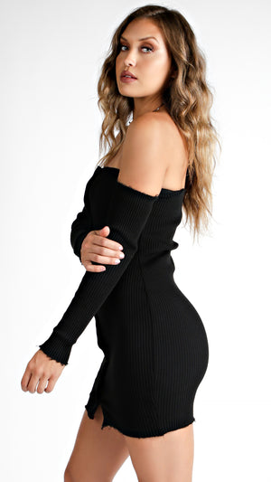 Off Shoulder Button Down Dress