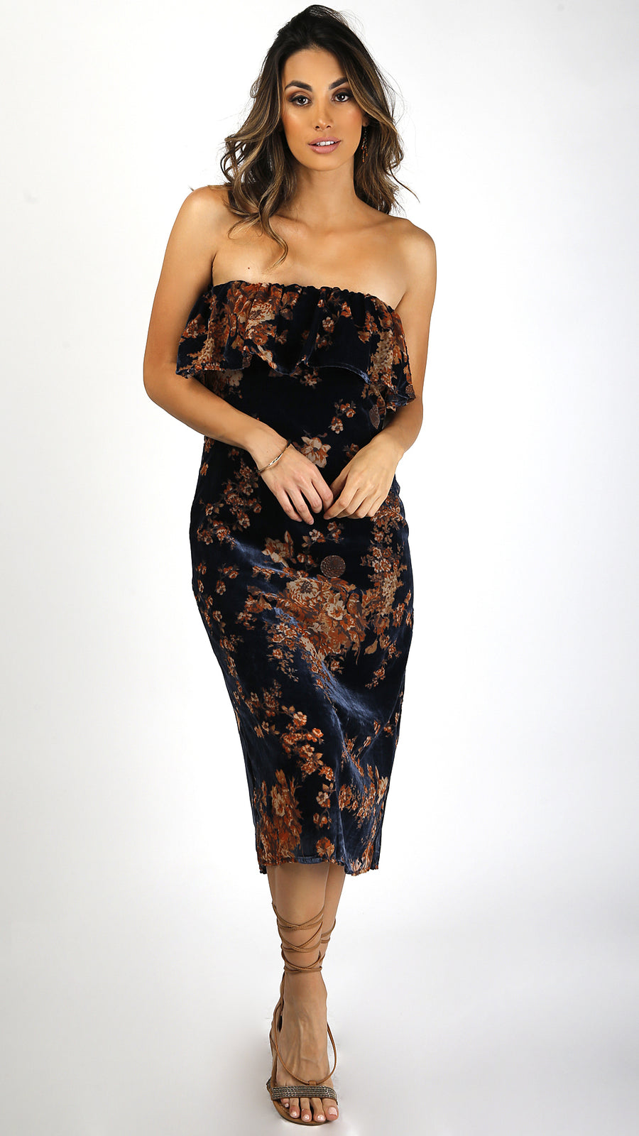 Strapless Floral Velvet Midi Dress