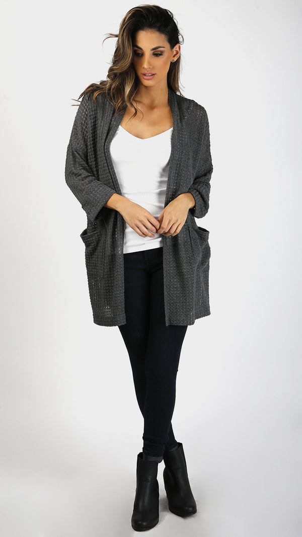 Thermal Knit Cardigan With Folded Cuff