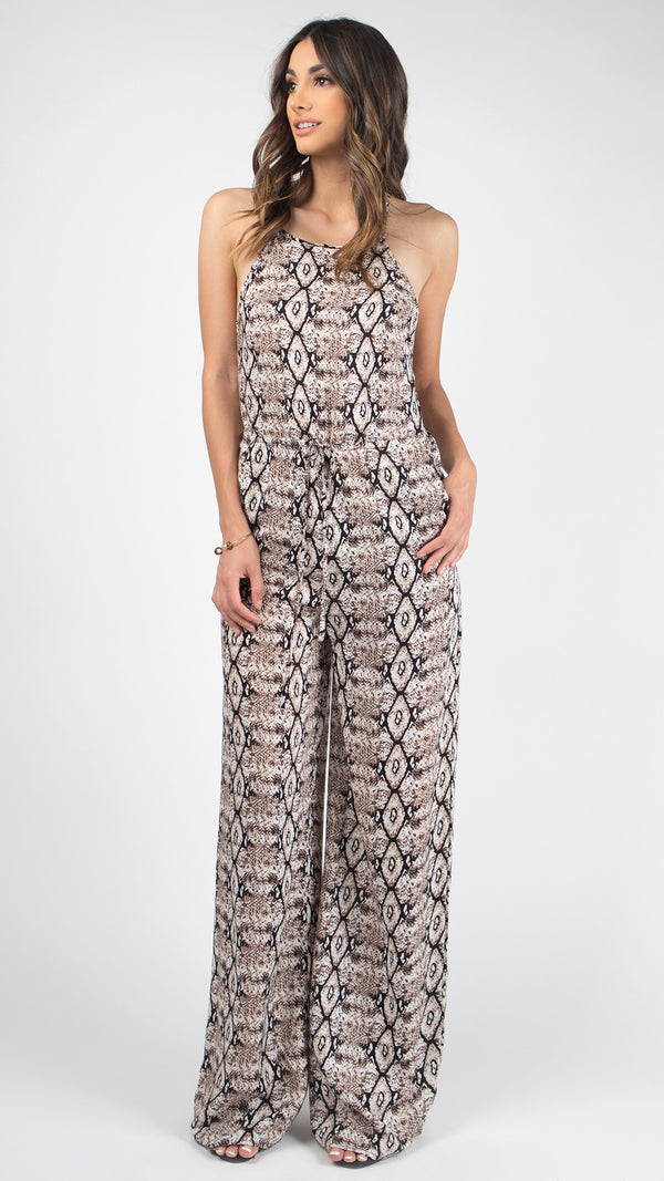 Snake Print High Neck Jumpsuit