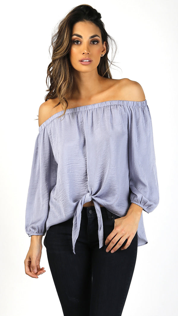 Off Shoulder Silky Front Tie Top