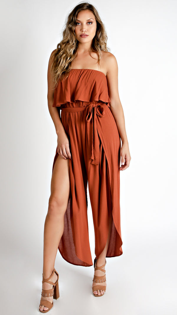 Tube Top Ruffle Jumpsuit