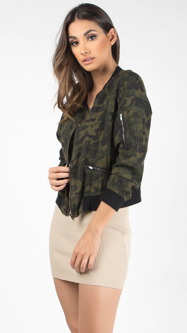 Washed Camouflage Bomber Jacket