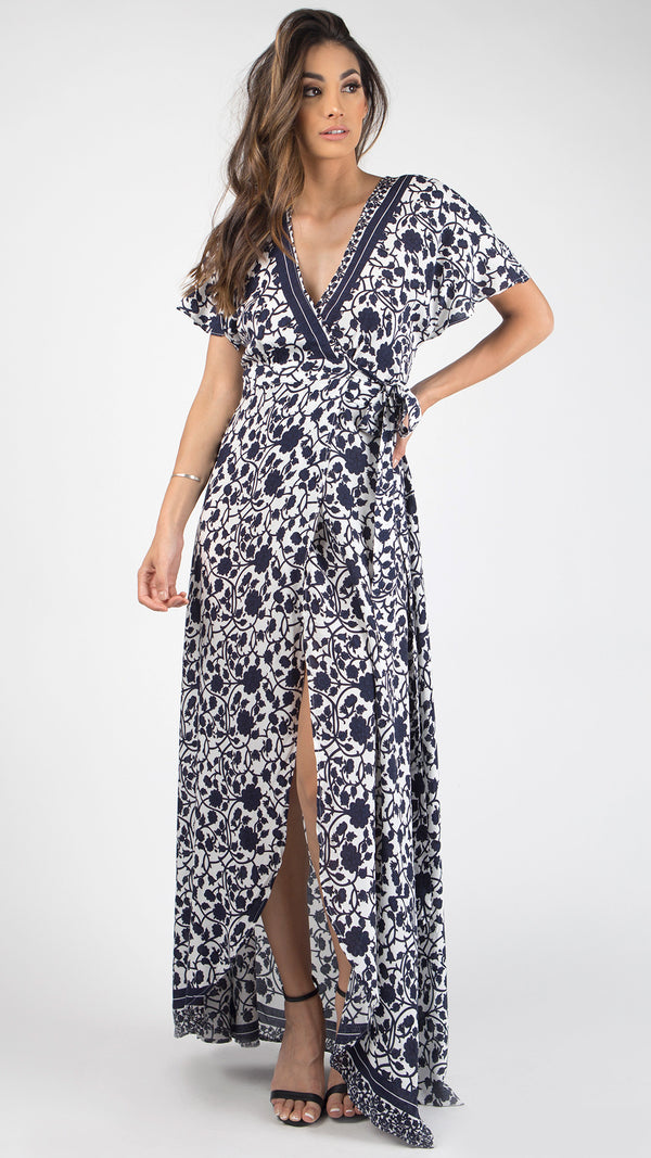 Floral Vine Printed Wrap Maxi Dress