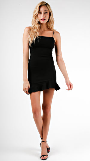 Little Black Dress With Ruffle Trim