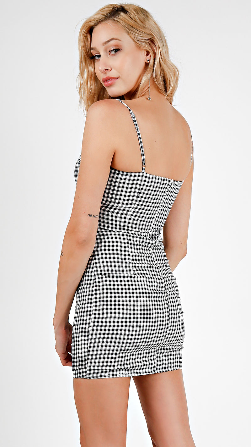 Gingham Cross Over Mini Dress