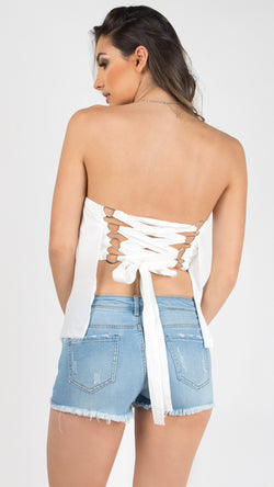 Angel Lace Up Tube Top - Msky