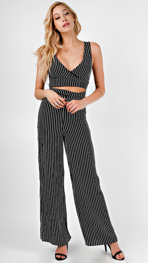 Striped Tie Front Jumpsuit