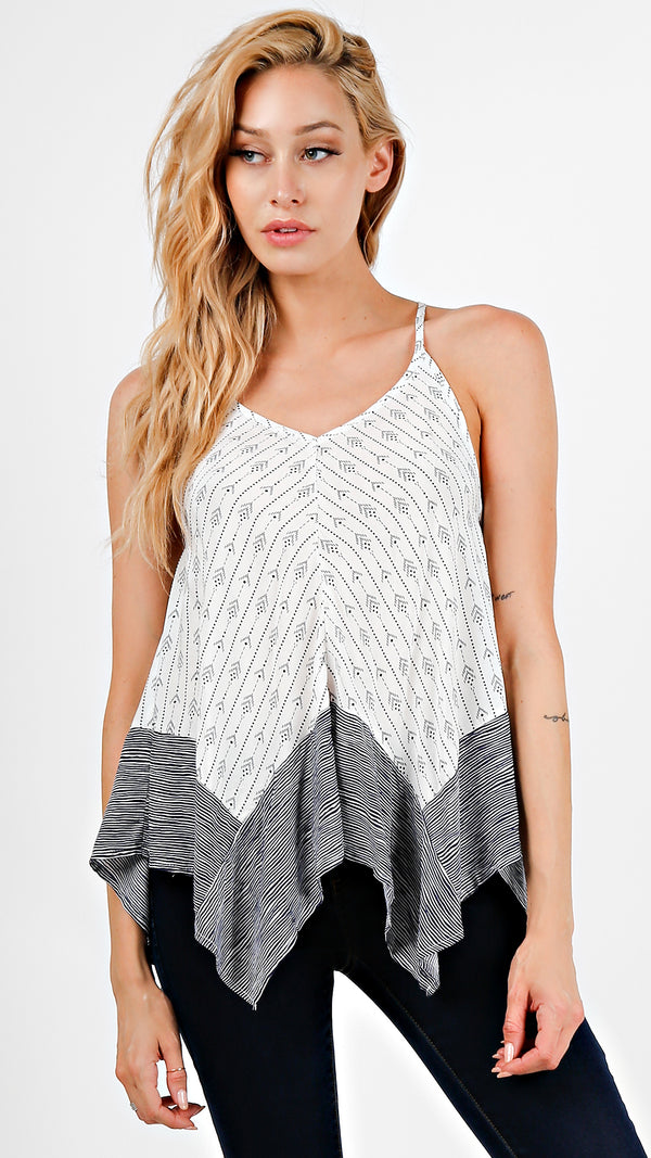 Tribal Striped Color Block Cami Top
