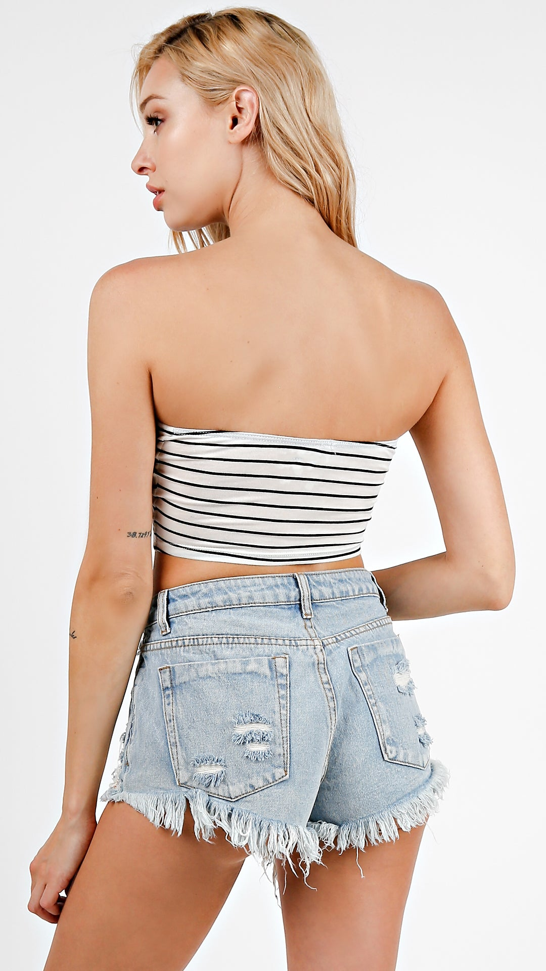 4783bb06ec Striped Front Tie Tube Top - ANGL