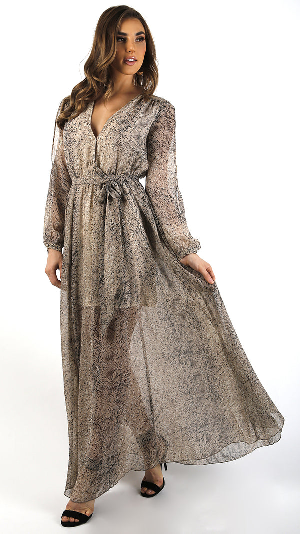 Snake Print Long Sleeve Tie Maxi Dress