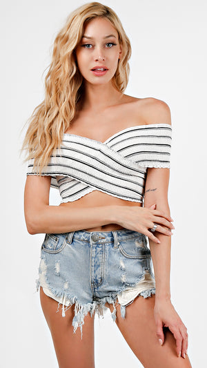 Striped Smocked Criss Cross Crop Top