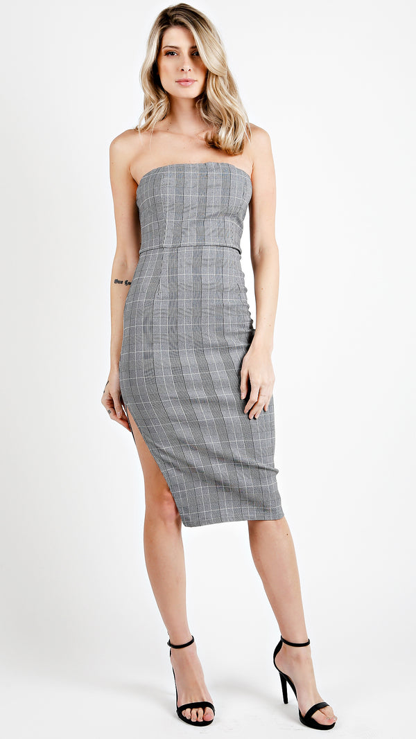 Glen Plaid Tube Dress