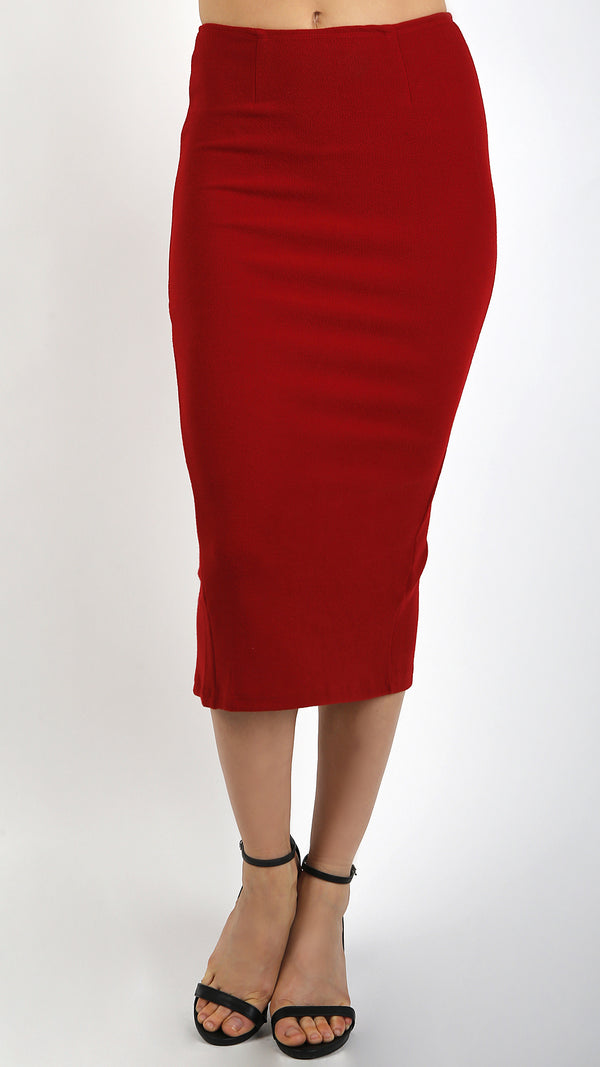 High Waisted Midi Bodycon Pencil Skirt