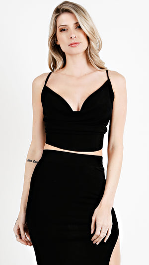 Draped Glossy  Crop Top With String Tie Back