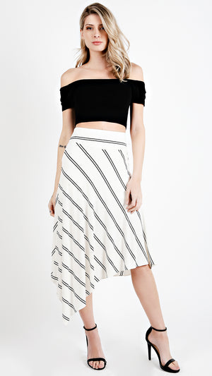 Asymmetrical Striped High Waisted Skirt - ANGL